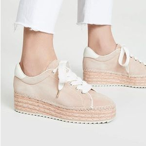 Joie Platform Leather Suede Sneakers Dabna Pink
